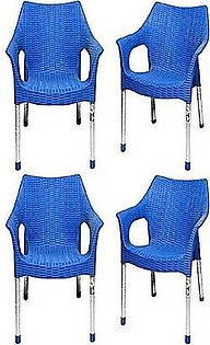 ELON Set Of 4 Rattan Plastic Chair Blue