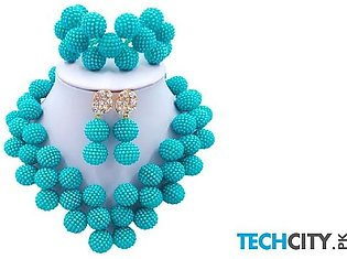 Laanc Teal Pearl Zinc Alloy Round Jewelry Set