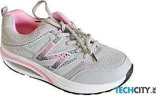 Grey And Pink Ladies Sport Shoes CS-1375
