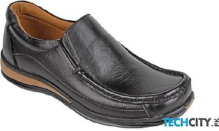 Black Leather Slip On Digger Shoes LC-661
