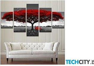 Red Tree Wall Art Pictures 5 Pieces Art Scenery Landscape Paintings