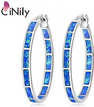 CiNily Blue Green Fire Opal Stone Big Round Circle Hoop Earrings