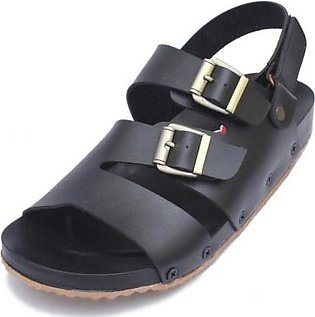 Black Two Buckle Straps Casual Sandal