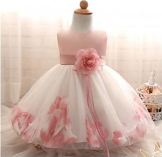 Fairy Petals Flower Baptism Baby Girl Dress