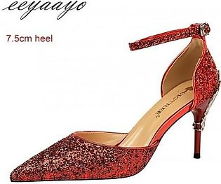 Eeyaayo Red Sequined Cloth Ankle Strap Pumps Shoes