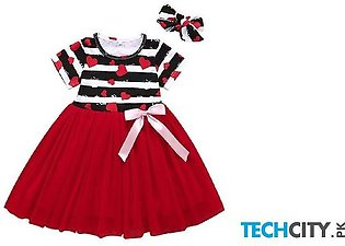 Perimedes Red Black O-neck Polyester Baby Girl Dress