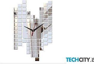 Silver Mirror Sticker Wall Clock