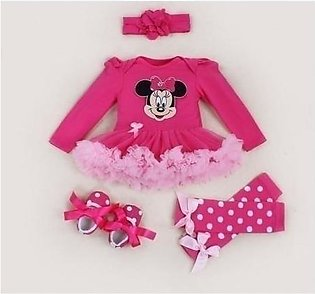 Pink Cartoon Printed Tutu Skirt Stylish Baby Girl Dress