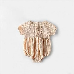 Pink Cotton Linen Romper Short Sleeve Toddler Dresses