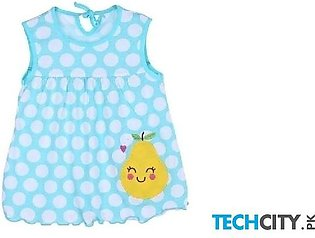 Rosmitte Sky Blue Dotted Polyester Round Baby Dress