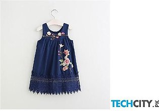 Szyadeou Navy Blue Floral Cotton Baby Dress