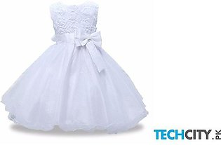 Keaiyouhuo White Polyester O-Neck Solid Girls Dress