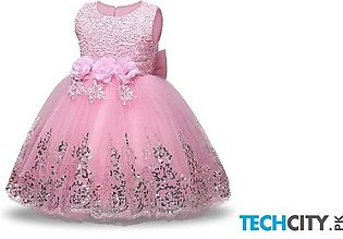 Keaiyouhuo Pink Cotton Polyester Sleeveless Solid Girls Dress