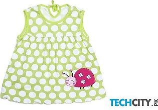 Rosmitte Green Dotted Polyester Round Baby Dress