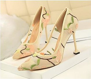BIGTREE Apricot Mesh Hollow Floral Stiletto Extreme High Heels Pumps