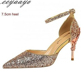 Eeyaayo Champagne Sequined Cloth Ankle Strap Pumps Shoes