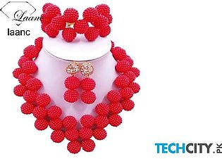 Laanc Red Pearl Zinc Alloy Round Jewelry Set