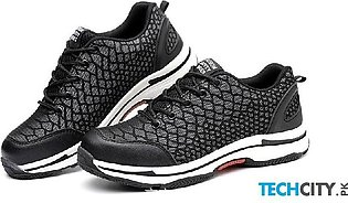Black Lightweight Mesh Breathable Night Reflective Casual Safety Shoes