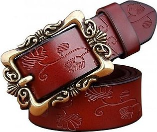 BeHighKing Coffee Small Flower Cowskin Alloy Genuine Leather Belts