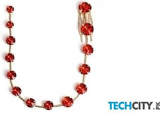 Fashionsnoops Red Zinc Alloy Round Hair Jewelry