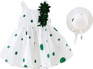 Perimedes White Green Dotted Cotton Sleeveless Baby Dresses