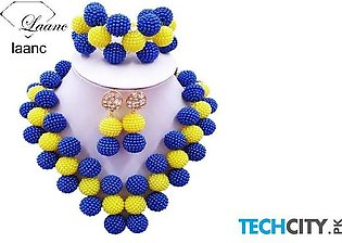 Laanc Royal and Yellow Pearl Zinc Alloy Round Jewelry Set