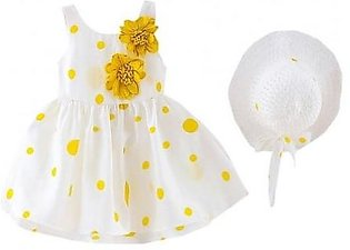 Perimedes White Yellow Dotted Cotton Sleeveless Baby Dresses