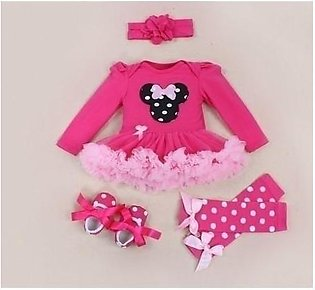 Pink Black Dotted Tutu Skirt Stylish Baby Girl Dress