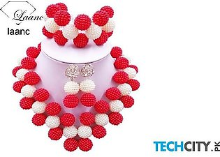 Laanc Red and White Pearl Zinc Alloy Round Jewelry Set