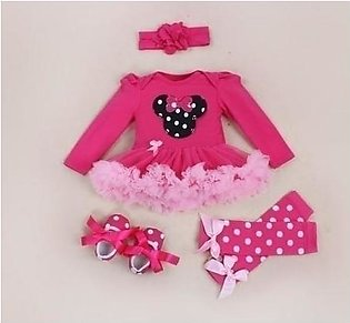 Pink Black Dotted Bow Tutu Skirt Stylish Baby Girl Dress