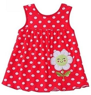 Rosmitte Red Dotted Polyester Round Baby Dress