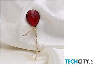 Red Trees Red Geometric Brooch