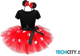 Red Polyester Cotton Baby Dress
