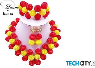 Laanc Red and Yellow Pearl Zinc Alloy Round Jewelry Set