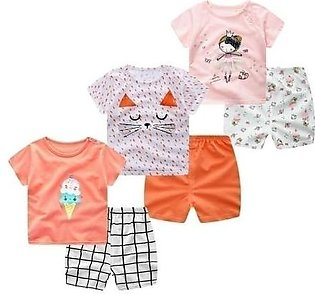 E&BAINEL Pack Of 3 Short Sleeve Cartoon Cotton Baby Girl Dress