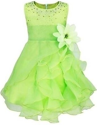 iiniim Green O-Neck Polyester Sleeveless Dress