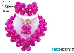 Laanc Hot Pink Pearl Zinc Alloy Round Jewelry Set