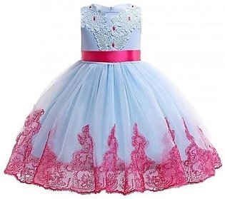 Keaiyouhuo Sky Blue Red Cotton Polyester Solid Girls Princess Dress
