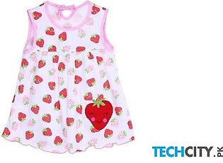 Rosmitte Strawberry Dotted Polyester Round Baby Dress