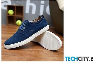 Royal Blue Breathable Suede Canvas Leather Shoes