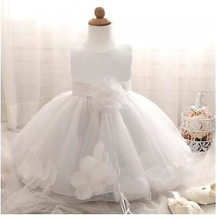 Fairy Petals Flower White Birthday Baby Girl Dress