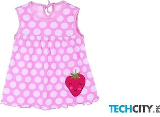 Rosmitte Pink Dotted Polyester Round Baby Dress