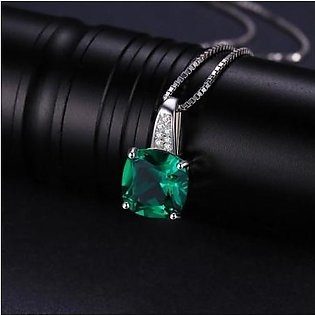 JewelryPalace Green Stone Emerald Square 925,Sterling Pendant Necklace