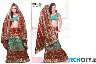 Dark Red And Sea Green Embroidered Sharara D-53