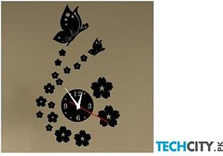 Black Design 3d Crystal Mirror Acrylic Wall Clock