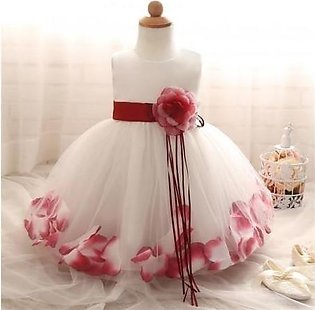 Fairy Petals Flower Red Birthday Baby Girl Dress