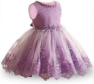 Keaiyouhuo Purple Polyester O-Neck Solid Girls Dress