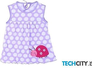 Rosmitte Light Blue Dotted Polyester Round Baby Dress