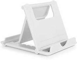 White Abs Rubber Cell Phone Tablet Desk Stand Holder