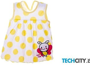 Rosmitte Yellow Dotted Polyester Round Baby Dress